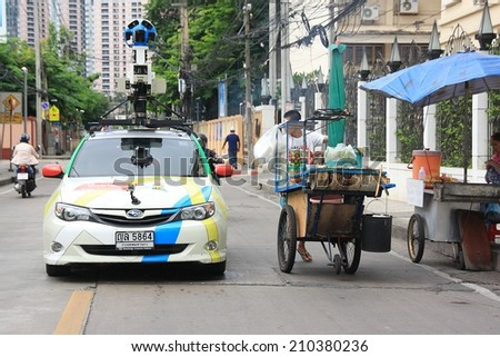BANGKOK,THAILAND - JULY 16: A Google Maps car on view in central Bangkok as the internet giant announces the Thai capital has been added to its Street View utility on July 16,2013 in Bangkok,Thailand. - stock photo
