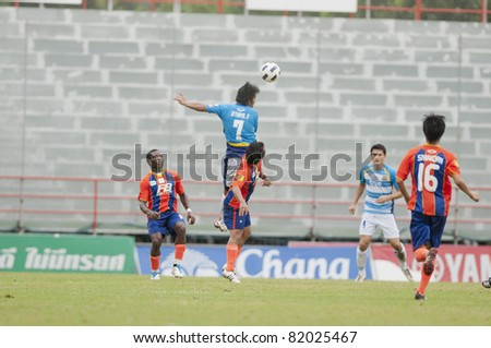 BANGKOK THAILAND- JULY 30 :A.Pulsub (B) in action during Thai Premier League (TPL) between thai port fc (Orange) vs Pattaya Utd. (Blue) on July 30, 2011 at PAT Stadium in Bangkok Thailand
