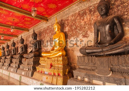 BANGKOK,THAILAND-JULY 20,2013:Beautiful buddhas while walking in Wat suthat