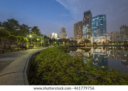 Bangkok, Thailand - July 25, 2016 : Benjakitti park in Bangkok, Thailand. This park in the big garden at the center of Bangkok, Thailand