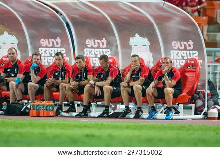 BANGKOK THAILAND JULY 14:Brendan Rodgers (R) of Liverpool in action during the international friendly match between Thai All Stars and Liverpool FC at Rajamangala Stadium on July14,2015 in,Thailand. - stock photo