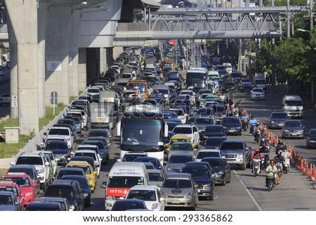 Bangkok, Thailand - July 3, 2015: Daily Traffic jam in Bangkok, THAILAND. - stock photo