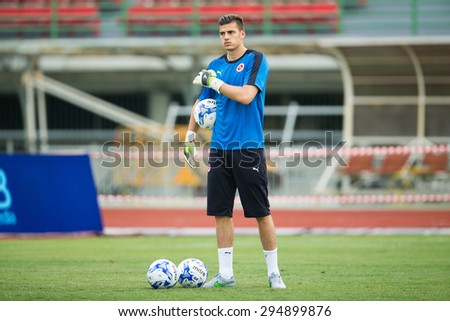 BANGKOK,THAILAND-July8:Goalkeeper Jonathan Bond of Reading FC in action during The Reading FC Thailand Tour 2015 Thailand All Stars and Reading FC at National Stadium on July 8, 2015,Thailand. - stock photo