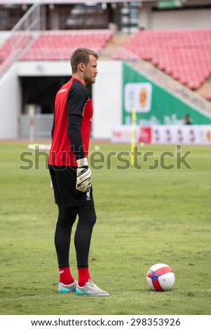 BANGKOK,THAILAND-July13 : Goalkeeper Simon Mignolet of Liverpool in action during a training session at Rajamangala Stadium on July 13, 2015, in BangkokThailand. - stock photo