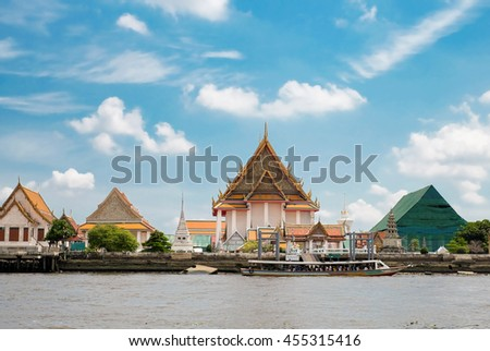 BANGKOK, THAILAND - July 19 ,2016: Kanlalayanamitr temple, one of a favorite place for tourist to visit alongside the Jao Phaya River in Bangkok,Thailand.