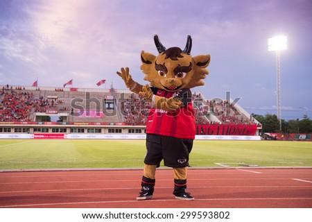 BANGKOK THAILAND-JULY 18:Kilin mascot of Muangthong Utd. in action during Thai Premier League BEC Tero Sasana F.C.and Muangthong Utd.at 72-years Anniversary Stadium on July 18, 2015,Thailand - stock photo