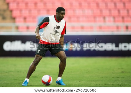 BANGKOK,THAILAND-July13:Kolo Toure of Liverpool in action during a training session at Rajamangala Stadium on July 13, 2015, in BangkokThailand. - stock photo