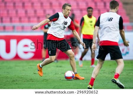 BANGKOK,THAILAND-July13:Lucas Leiva  of Liverpool in action during a training session at Rajamangala Stadium on July 13, 2015, in BangkokThailand. - stock photo