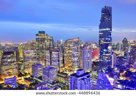 BANGKOK, Thailand -July 3, 2016: Mahanakhon is the new highest building in Bangkok. It is the commercial complex with office rental area, luxurious condominium and shopping mall.