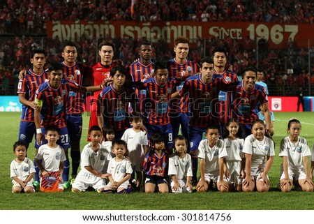 BANGKOK THAILAND-JULY 25 :Players of Thai Port Fc shot photo during Thai Premier League between Thai Port Fc and Bangkok Glass FC. at PAT Stadium on July25,2015 in Bangkok Thailand - stock photo