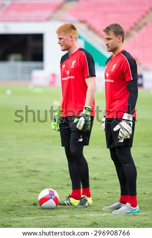 BANGKOK,THAILAND-JULY 14 :Simon Mignolet of Liverpool in action during LFC Tour 2015 between Thai Premier League All Stars and Liverpool at Rajamangala Stadium on July 14,2015 in Bangkok,Thailand.