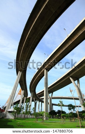 BANGKOK, THAILAND-July 27: The Bhumibol Bridge, also known as Industrial Ring bridge on July 27, 2013 in Bangkok. It is a part of 13 km long Industrial Ring Road connecting Bangkok with Samut Prakan