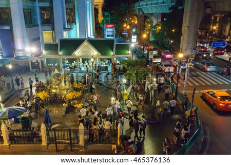 Bangkok, Thailand- july 17,2016:the Erawan Shrine at Ratchaprasong Intersection at night time