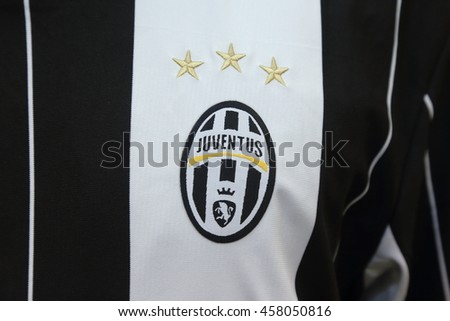BANGKOK, THAILAND - JULY 25, 2016: The Logo of Juventus on Football Jersey on July 25,2016 in Bangkok Thailand.