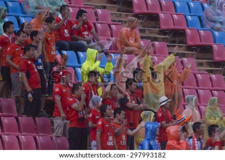BANGKOK,THAILAND:JULY 2015:The subporter of Chaing Rai poses during football Thai Premier League between Osotspa M150 and Chiang Rai United at Rajamangala National Stadium on July 19,2015inThailand.  - stock photo