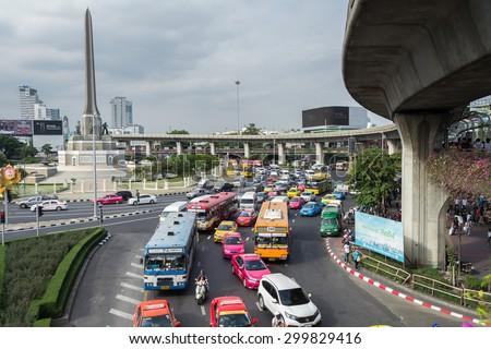 Bangkok,Thailand - July 25,2015 : Traffic jam at Victory Monument - stock photo