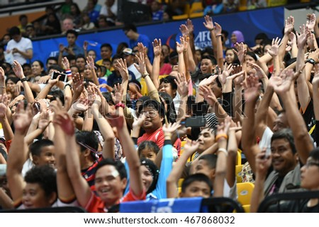 BANGKOK THAILAND-JULY15:Unidentified fans of Chonburi Bluewave supporters during AFC FUTSAL CLUB CHAMPIONSHIP 2016Match Chonburi Bluewave and Nagoya Oceans at Bangkok Arena Stadium on July15,2016