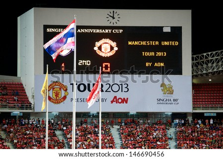 BANGKOK,THAILAND-JULY13:Unidentified View Scoreboard of Rajamangala Stadium during the friendly match between Singha All Star and Manchester United at Rajamangala Stadium on July13, 2013in Thailand. - stock photo