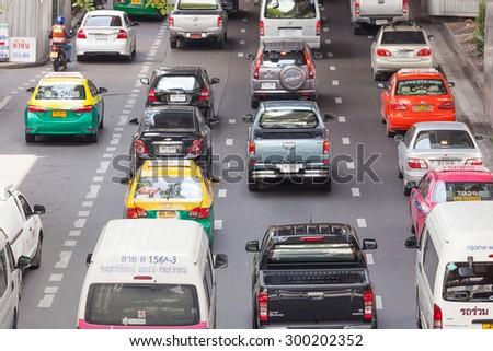 Bangkok, Thailand - July 24, 2015: Vehicles and Traffic Jam in Bangkok. - stock photo
