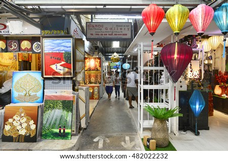 BANGKOK, THAILAND   JULY 22 : View Of Painting And Home Decor Shop At  Jatujak