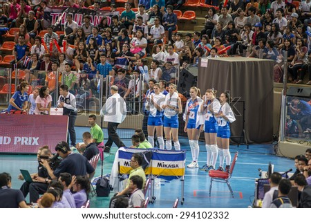 BANGKOK,THAILAND - July 3,2015: Volleyball players Serbia national team in action during FIVB Volleyball World Grand Prix Bangkok 2015 at Hua Mak Sports Complex.