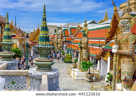 Bangkok, Thailand - July 25, 2014: Wat Phra Kaew, The Grand Palace, the most famous temple and landmark of Thailand.