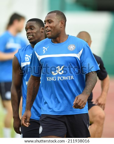 BANGKOK, THAILAND - JULY 25:Wes Morgan of Leicester City in action during an evening session at Army United Stadium on July 25, 2014 in Bangkok, Thailand.