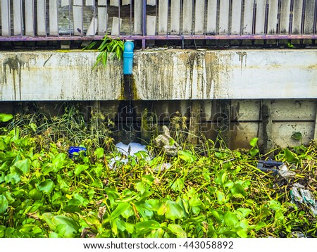 BANGKOK THAILAND - jun 25 : Garbage from Heavy flooding from monsoon rain from north Thailand arriving in viphavadee Road sutthisan junction on jun 25, 2016 in Central Bangkok, Thailand.