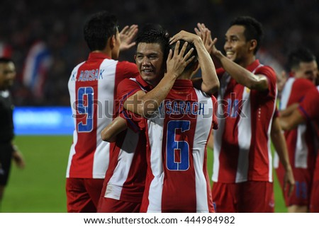 BANGKOK THAILAND JUN5 2015 :Players of Thailand celebrate during the King's Cup 2016 Match between Thailand and Jordan at Rajamangala Stadium on June 5,2016 in Thailand.