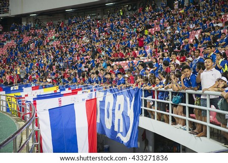 BANGKOK THAILAND Jun 5 2016 :Unidentified fan of Thailand supporters during the King's cup match Thailand 2016  Thailand Team and Jordan Team at Rajamangala Stadium on Jun 5 2016 in Thailand. - stock photo