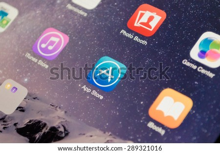 Bangkok, Thailand - June 17, 2015  : A close-up photo of Apple iOS start screen focused on App Store application  icon - stock photo