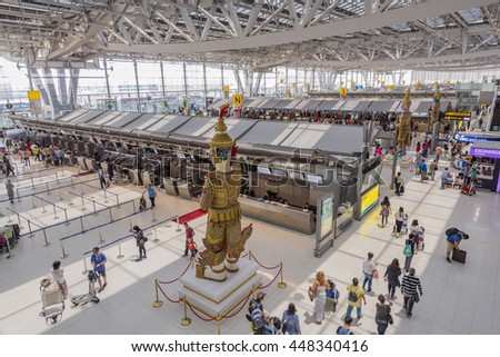 BANGKOK, THAILAND - JUNE 30, 2016 : aerial shot looking down on sculpture and interior of Suvarnabhumi Airport is one of two international airports serving Bangkok.
