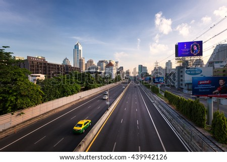 BANGKOK, THAILAND : 19 JUNE 2016 - Bangkok city highway scene in early morning with a few cars on the road in Bangkok, Thailand on 19 June 2016. - stock photo