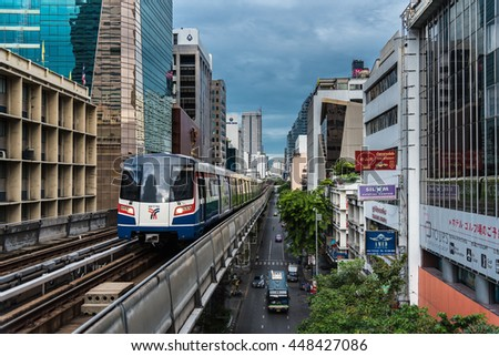 BANGKOK THAILAND - JUNE 26: BTS sky train hight speed for people in capital city on June 26, 2016 in Bangkok, Thailand