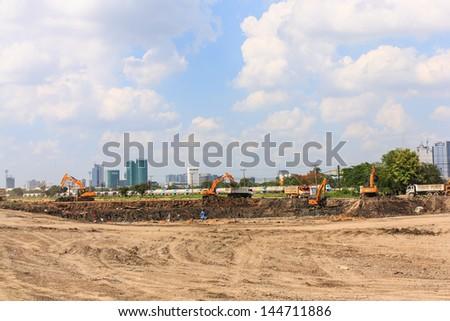 Bangkok Thailand - June 29 : Heavy excavator loader in construction site on June 29, 2013 at Bangsue District, Bangkok Thailand - stock photo