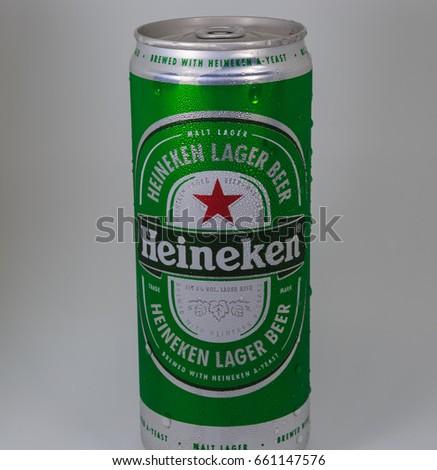 Bangkok, Thailand, June 17 2017: Heineken Lager Beer (Dutch: Heineken) or simply Heineken is a pale beer  with 5% alcohol by volume produced by the brewing company Heineken.(Close Up)