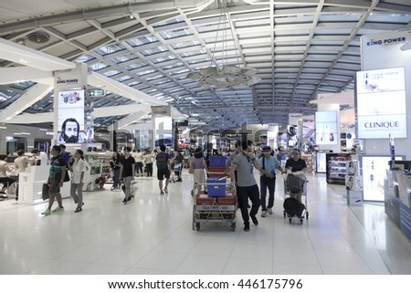 Bangkok,Thailand - June 25,2016 : People shopping in Duty free shop in Suvarnabhumi Airport on June 25,2016 in Bangkok,Thailand.