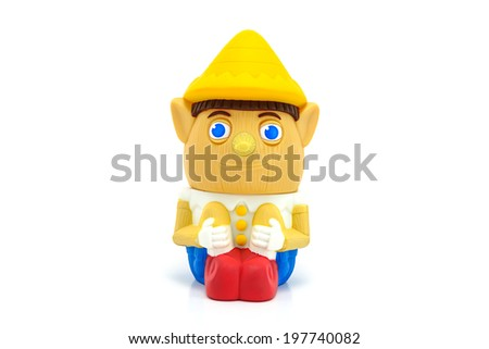 BANGKOK, THAILAND - June 5, 2014 : Pinocchio character form Shrek movie. There are toy sold as part of McDonald's Happy meal. - stock photo