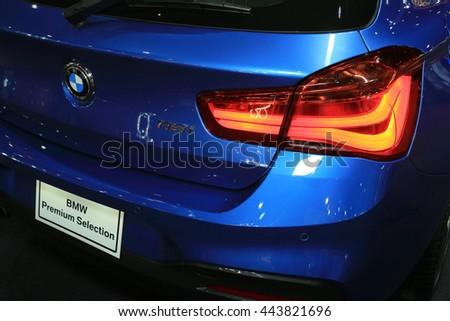 BANGKOK, THAILAND - JUNE 22 : Status of BMW car displayed in Bangkok International 2016 Auto Salon at June 22, 2016 Bangkok, Thailand. - stock photo
