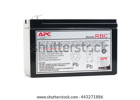 BANGKOK, THAILAND - JUNE 27, 2016: The APC Replacement battery for UPS. APC by Schneider Electric is a manufacturer of uninterruptible power supplies and electronic products.