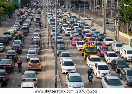 BANGKOK, THAILAND JUNE 13, 2015: Traffic during rush hour in Bangkok, Thailand on 13 June 2015. Bangkok is the most crowded city in Thailand.
