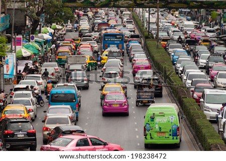 BANGKOK, THAILAND, JUNE 7,2014, Traffic jam at the junction in Bangkok, Thailand. It is the capital of Thailand. - stock photo