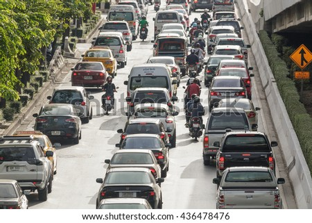 BANGKOK THAILAND â?? 14 JUNE 2016 : Traffic on the road towards the capital of a dense jams every morning on 14 June, 2016 at Rama 2 Road Bangkok, Thailand