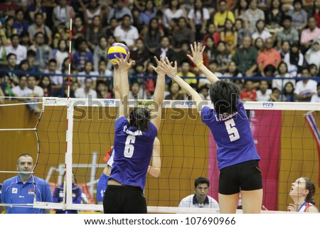 BANGKOK,THAILAND - JUNE 23 : Unidentified players in action a WORLD GRAND PRIX 2012 ( Group J ) Thailand vs Serbia on June 23, 2012 in Bangkok,Thailand - stock photo