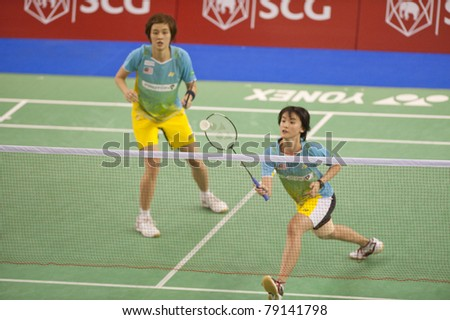 BANGKOK, THAILAND- JUNE 11: Vivian Kah Mun Hoo and Khe Wei Woon in the preliminary rounds of SCG Thailand Open Grand Prix Gold 2011 on June 11, 2011 in Bangkok, Thailand - stock photo