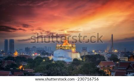 Bangkok Thailand landmark Big golden pagoda - stock photo