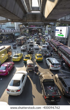 BANGKOK THAILAND - mar 5 : traffic jam on rama 1 road at siam square in evening time on march, 5, 2016, thailand.