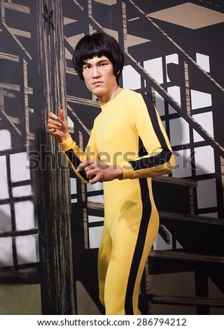 BANGKOK THAILAND - MARCH 5, 2015: Bruce Lee  waxwork figure -Madame Tussauds Siam discovery - stock photo