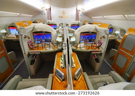 BANGKOK, THAILAND - MARCH 31, 2015: Emirates Airbus A380 interior. Emirates is one of two flag carriers of the United Arab Emirates along with Etihad Airways and is based in Dubai. - stock photo
