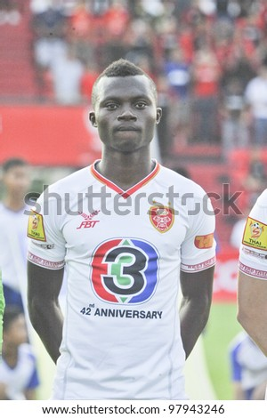 BANGKOK THAILAND - MARCH 17 : G.Koomson of BEC Tero in Thai Premier League (TPL) between SCG Muangthong Utd. (R) vs BEC Tero (W) on March 17, 2012 in SCG Stadium in Bangkok Thailand